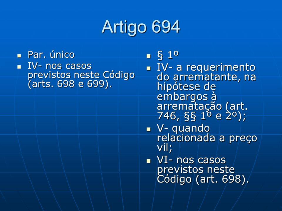 Artigo 694 Par.único Par. único IV- nos casos previstos neste Código (arts.
