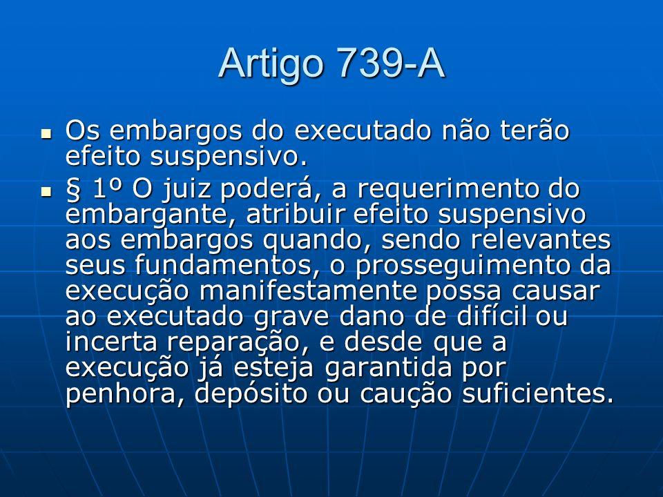 Artigo 739-A Os embargos do executado não terão efeito suspensivo.