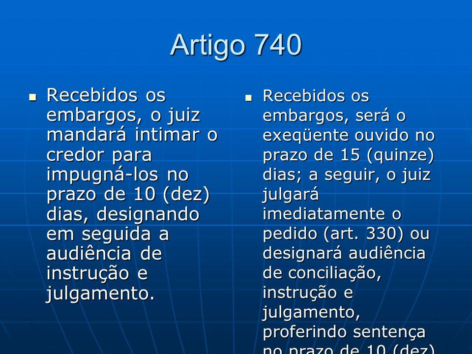 Artigo 740 Recebidos os embargos, o juiz mandará intimar o credor para impugná-los no prazo de 10 (dez) dias, designando em seguida a audiência de instrução e julgamento.