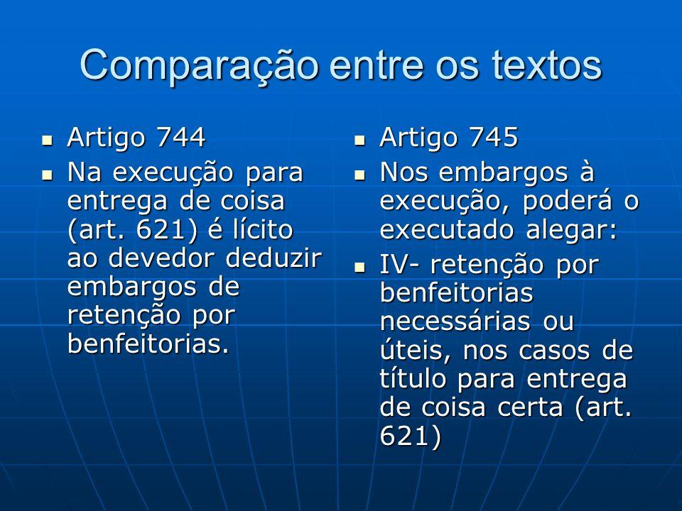 Comparação entre os textos Artigo 744 Artigo 744 Na execução para entrega de coisa (art.