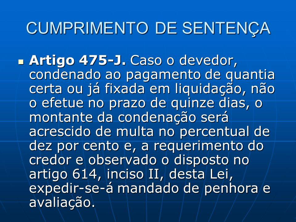 CUMPRIMENTO DE SENTENÇA Artigo 475-J.