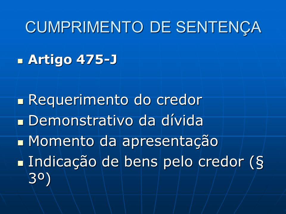 CUMPRIMENTO DE SENTENÇA Artigo 475-J Artigo 475-J Requerimento do credor Requerimento do credor Demonstrativo da dívida Demonstrativo da dívida Momento da apresentação Momento da apresentação Indicação de bens pelo credor (§ 3º) Indicação de bens pelo credor (§ 3º)