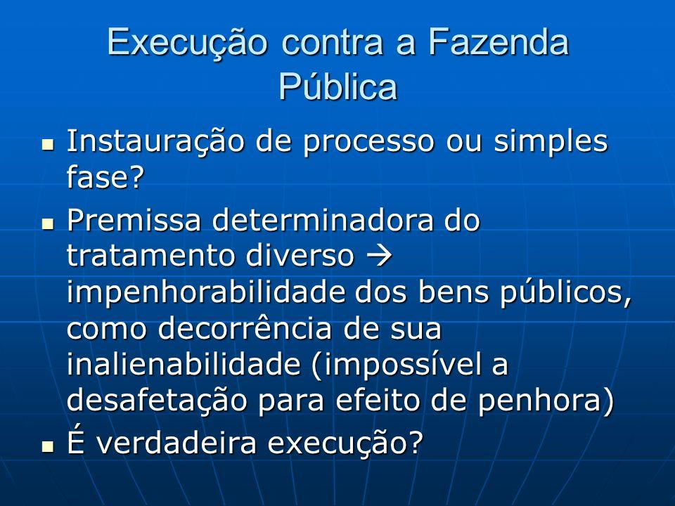 Execução contra a Fazenda Pública Instauração de processo ou simples fase.