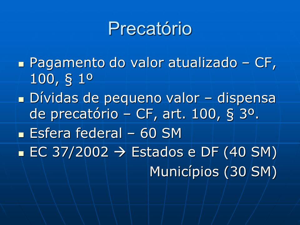 Precatório Pagamento do valor atualizado – CF, 100, § 1º Pagamento do valor atualizado – CF, 100, § 1º Dívidas de pequeno valor – dispensa de precatório – CF, art.