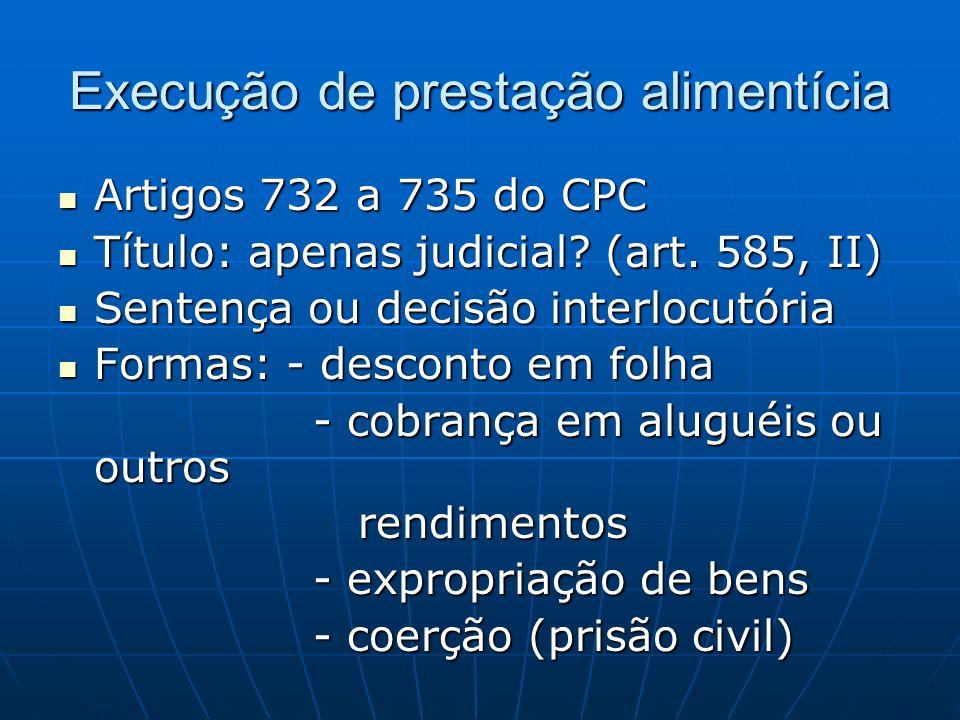 Execução de prestação alimentícia Artigos 732 a 735 do CPC Artigos 732 a 735 do CPC Título: apenas judicial.