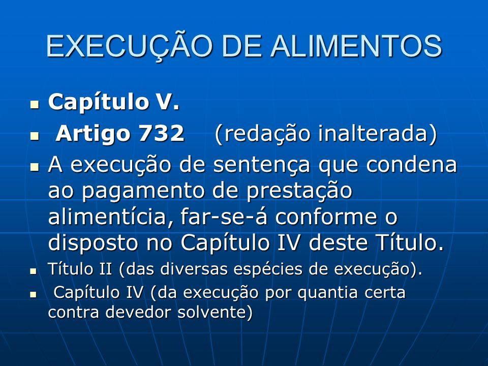 EXECUÇÃO DE ALIMENTOS Capítulo V.Capítulo V.