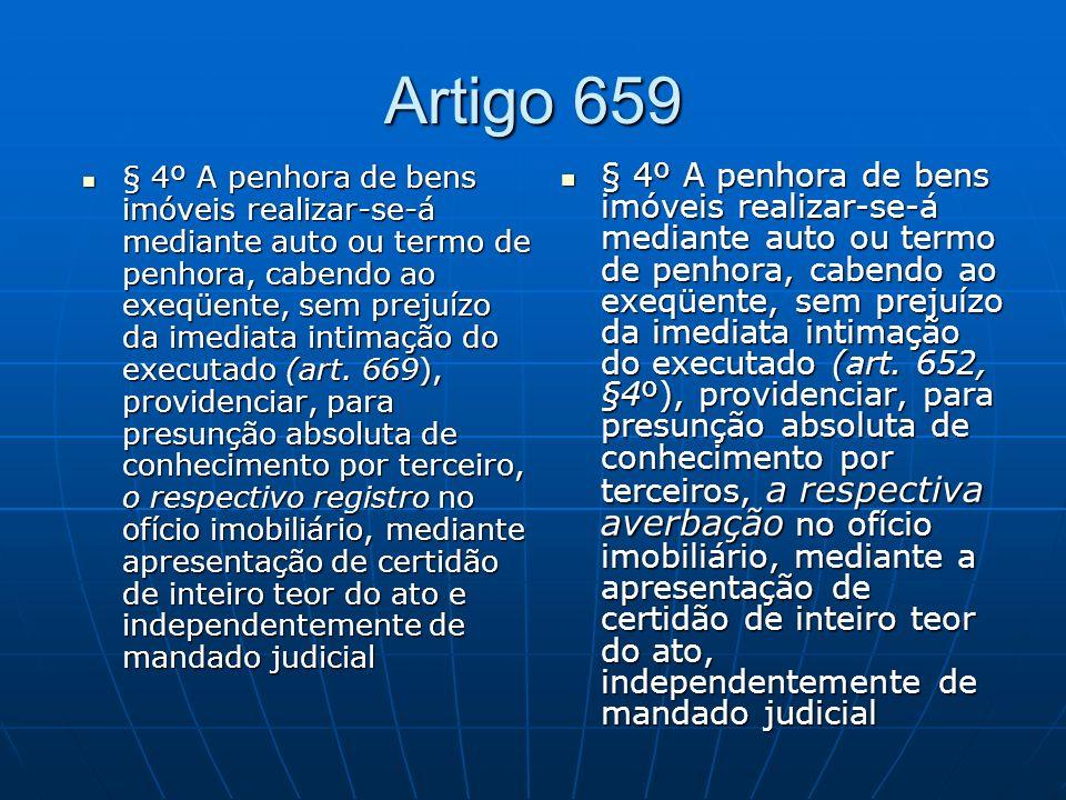 Artigo 659 § 4º A penhora de bens imóveis realizar-se-á mediante auto ou termo de penhora, cabendo ao exeqüente, sem prejuízo da imediata intimação do executado (art.