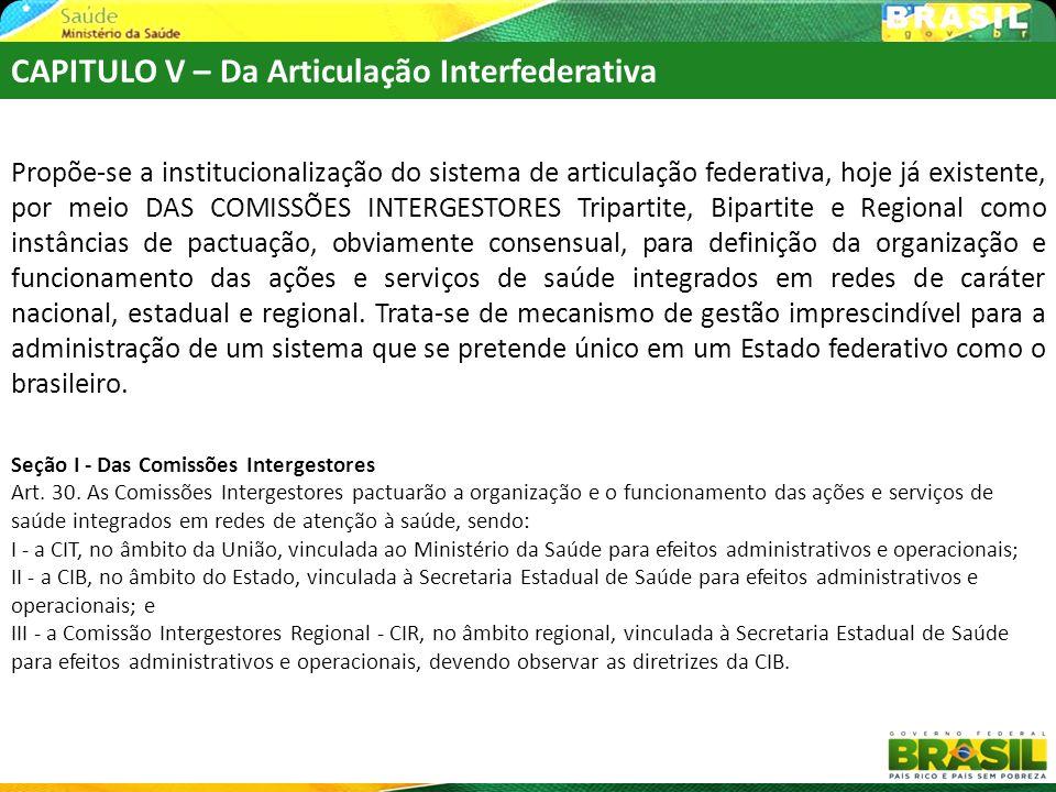 CAPITULO V – Da Articulação Interfederativa Propõe-se a institucionalização do sistema de articulação federativa, hoje já existente, por meio DAS COMI