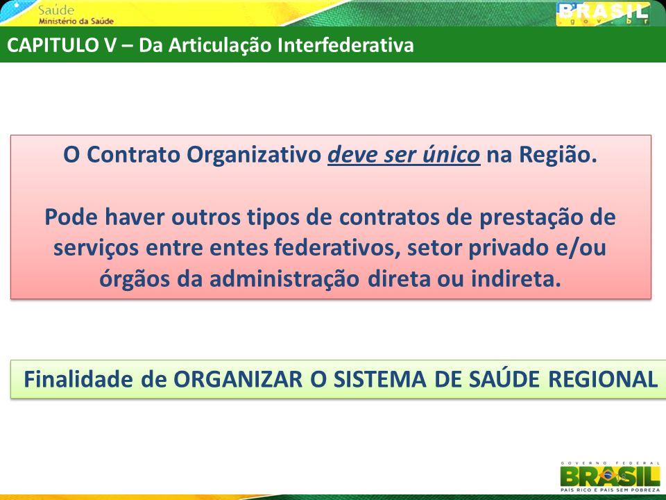 Finalidade de ORGANIZAR O SISTEMA DE SAÚDE REGIONAL 18 O Contrato Organizativo deve ser único na Região. Pode haver outros tipos de contratos de prest