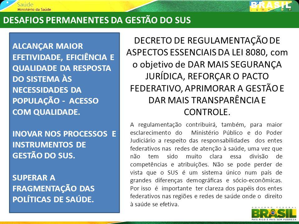 DESAFIOS PERMANENTES DA GESTÃO DO SUS DECRETO DE REGULAMENTAÇÃO DE ASPECTOS ESSENCIAIS DA LEI 8080, com o objetivo de DAR MAIS SEGURANÇA JURÍDICA, REF