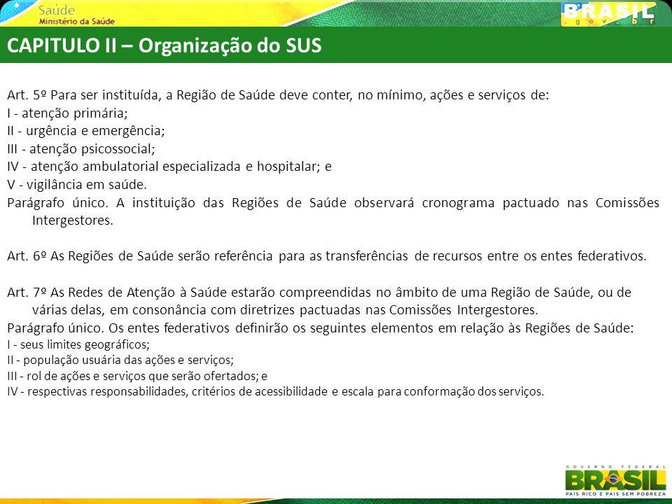 Art. 5º Para ser instituída, a Região de Saúde deve conter, no mínimo, ações e serviços de: I - atenção primária; II - urgência e emergência; III - at