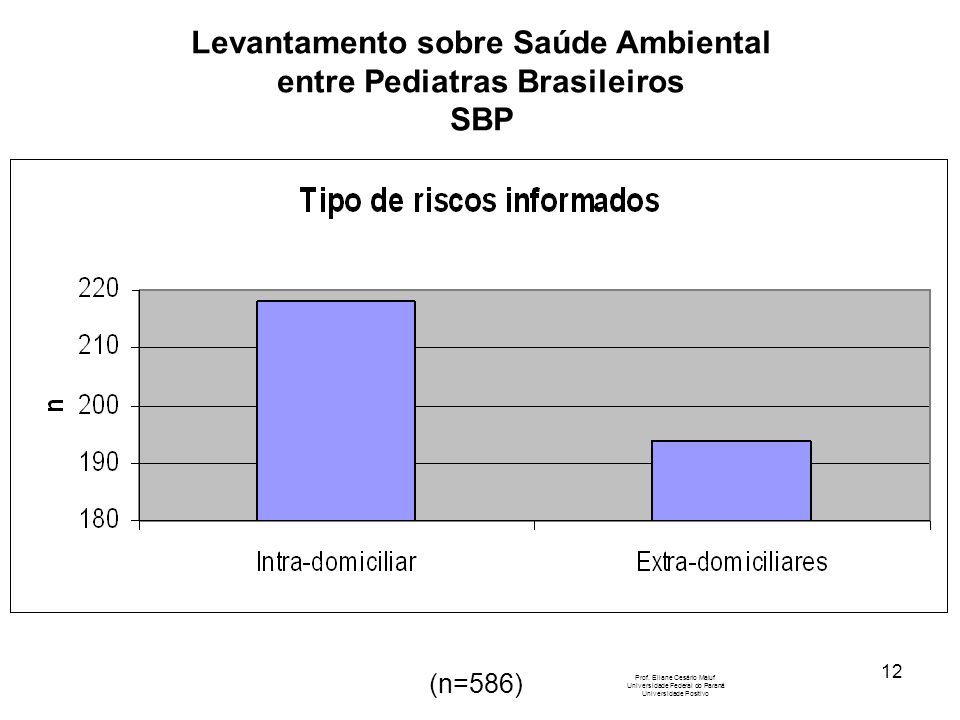 12 Levantamento sobre Saúde Ambiental entre Pediatras Brasileiros SBP Prof. Eliane Cesário Maluf Universidade Federal do Paraná Universidade Positivo