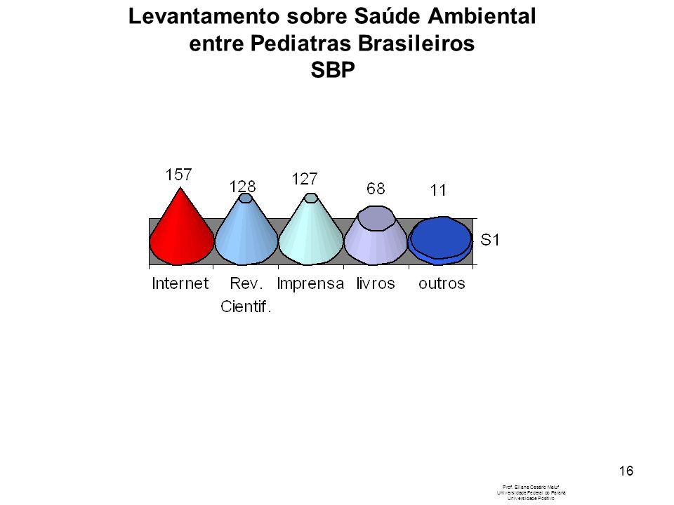 16 Levantamento sobre Saúde Ambiental entre Pediatras Brasileiros SBP Prof. Eliane Cesário Maluf Universidade Federal do Paraná Universidade Positivo