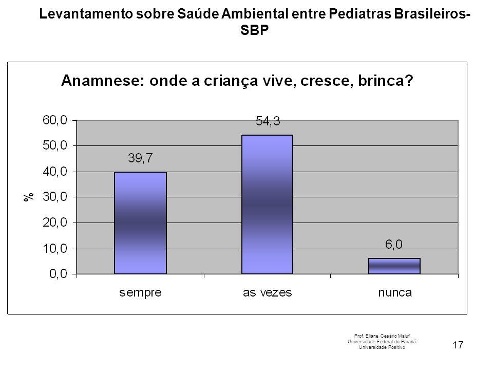 17 Levantamento sobre Saúde Ambiental entre Pediatras Brasileiros- SBP Prof. Eliane Cesário Maluf Universidade Federal do Paraná Universidade Positivo