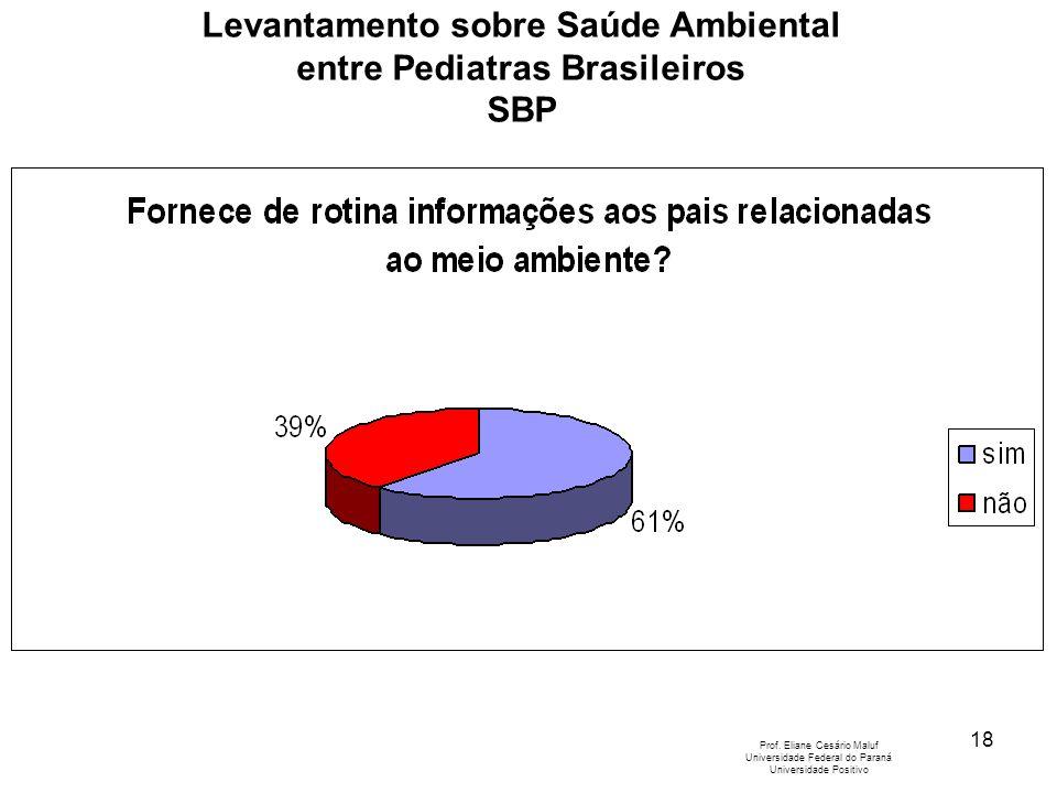 18 Levantamento sobre Saúde Ambiental entre Pediatras Brasileiros SBP Prof. Eliane Cesário Maluf Universidade Federal do Paraná Universidade Positivo