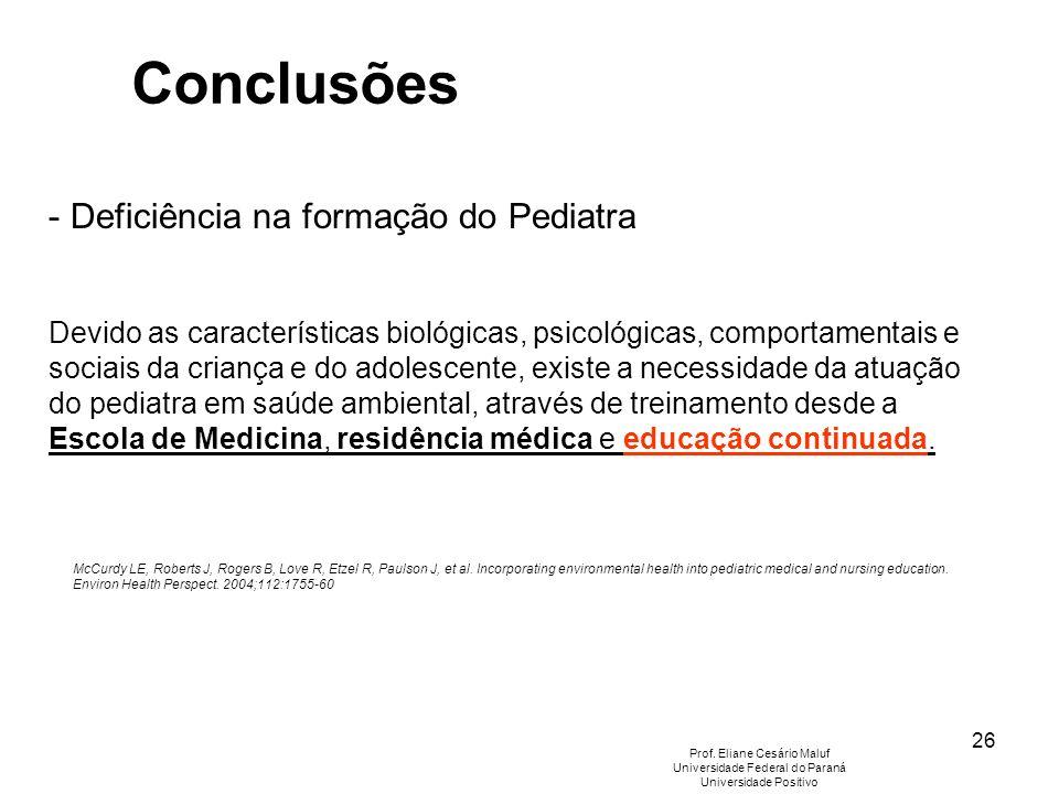 26 - Deficiência na formação do Pediatra Devido as características biológicas, psicológicas, comportamentais e sociais da criança e do adolescente, ex