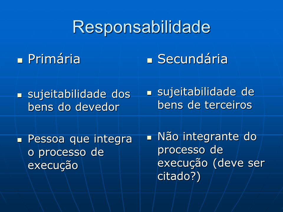 Responsabilidade Primária Primária sujeitabilidade dos bens do devedor sujeitabilidade dos bens do devedor Pessoa que integra o processo de execução P