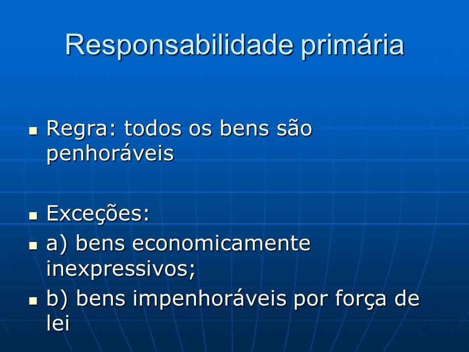 Responsabilidade primária Regra: todos os bens são penhoráveis Regra: todos os bens são penhoráveis Exceções: Exceções: a) bens economicamente inexpre