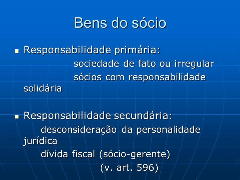 Bens do sócio Responsabilidade primária: Responsabilidade primária: sociedade de fato ou irregular sociedade de fato ou irregular sócios com responsab