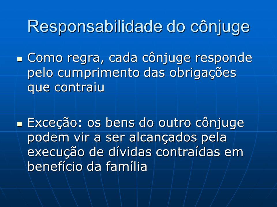 Responsabilidade do cônjuge Como regra, cada cônjuge responde pelo cumprimento das obrigações que contraiu Como regra, cada cônjuge responde pelo cump