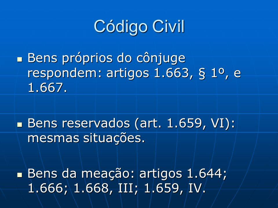 Código Civil Bens próprios do cônjuge respondem: artigos 1.663, § 1º, e 1.667. Bens próprios do cônjuge respondem: artigos 1.663, § 1º, e 1.667. Bens