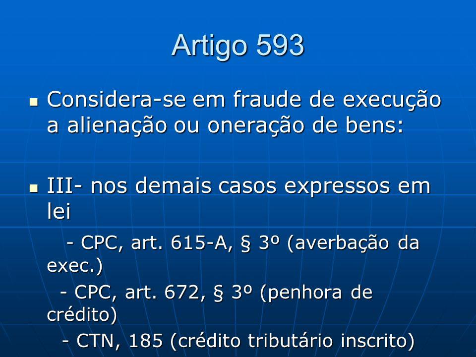 Artigo 593 Considera-se em fraude de execução a alienação ou oneração de bens: Considera-se em fraude de execução a alienação ou oneração de bens: III