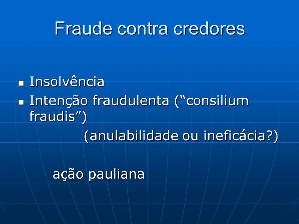 Fraude contra credores Insolvência Insolvência Intenção fraudulenta (consilium fraudis) Intenção fraudulenta (consilium fraudis) (anulabilidade ou ine