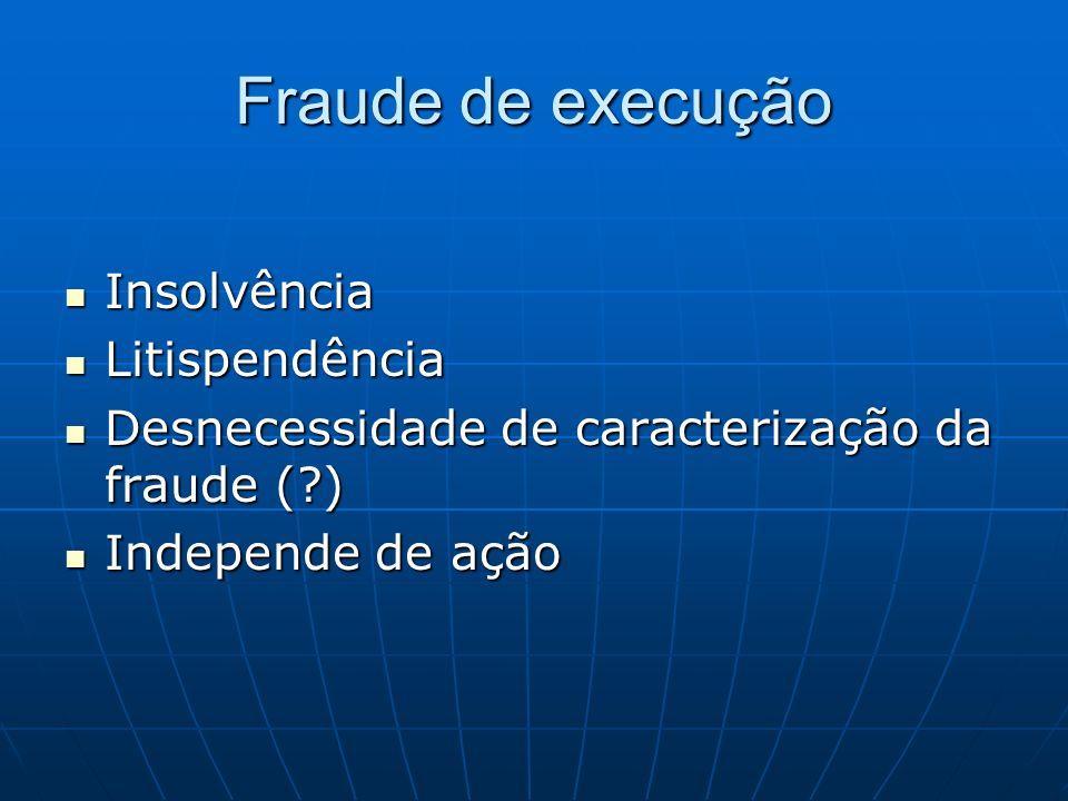 Fraude de execução Insolvência Insolvência Litispendência Litispendência Desnecessidade de caracterização da fraude (?) Desnecessidade de caracterizaç