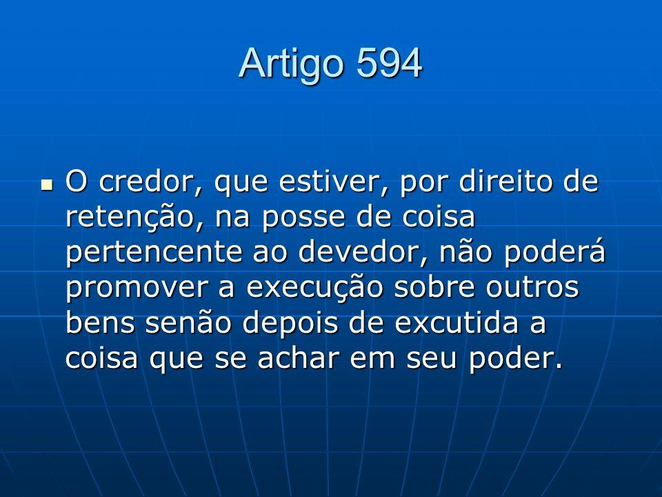 Artigo 594 O credor, que estiver, por direito de retenção, na posse de coisa pertencente ao devedor, não poderá promover a execução sobre outros bens