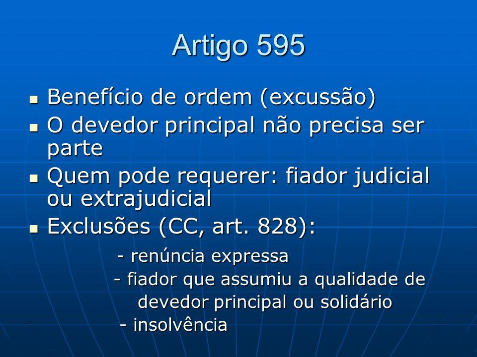 Artigo 595 Benefício de ordem (excussão) Benefício de ordem (excussão) O devedor principal não precisa ser parte O devedor principal não precisa ser p