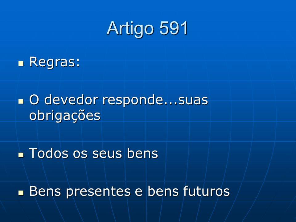 Artigo 591 Regras: Regras: O devedor responde...suas obrigações O devedor responde...suas obrigações Todos os seus bens Todos os seus bens Bens presen