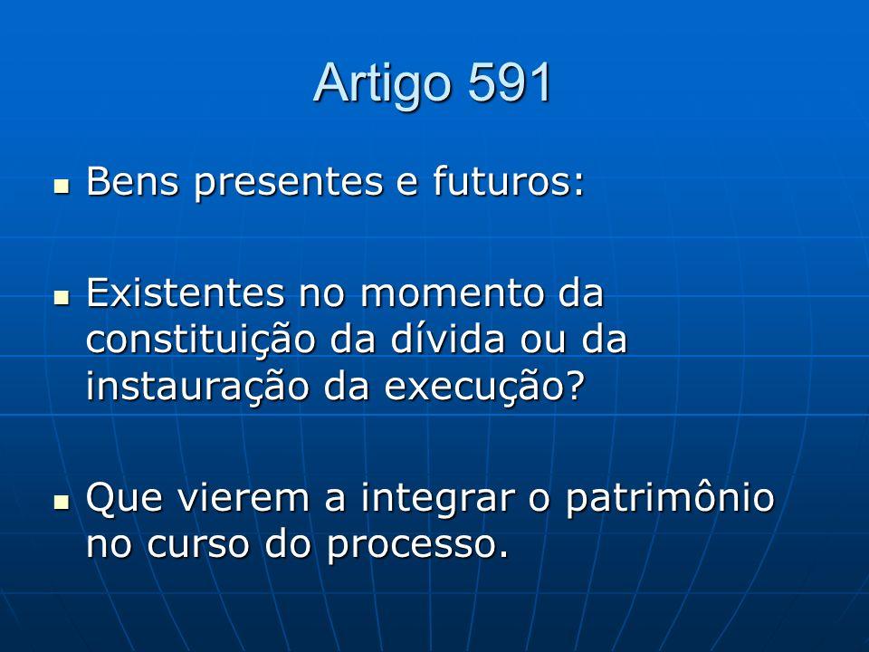 Artigo 591 Bens presentes e futuros: Bens presentes e futuros: Existentes no momento da constituição da dívida ou da instauração da execução? Existent
