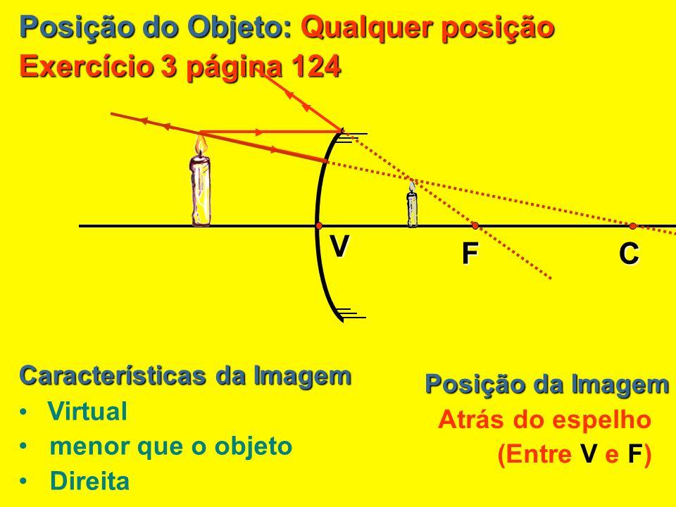 Posição do Objeto: Entre F e V Exercício 3: Posição da Imagem Atrás do espelho Características da Imagem V C F Virtual MAIOR que o objeto Direita
