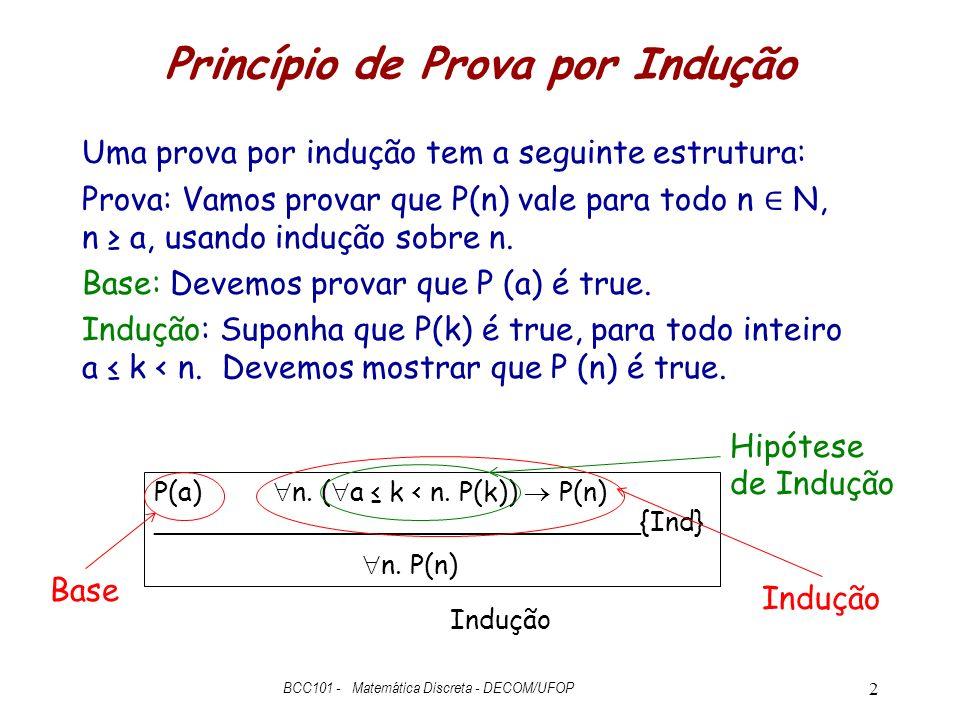 Princípio de Prova por Indução Uma prova por indução tem a seguinte estrutura: Prova: Vamos provar que P(n) vale para todo n N, n a, usando indução so
