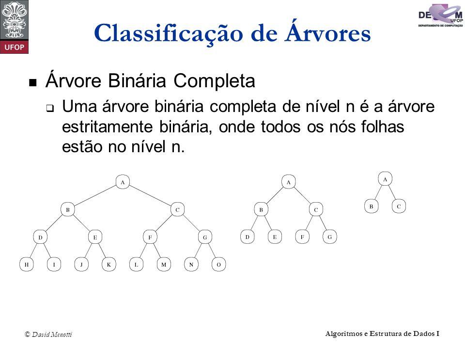 © David Menotti Algoritmos e Estrutura de Dados I Classificação de Árvores Árvore Binária Completa Uma árvore binária completa de nível n é a árvore e