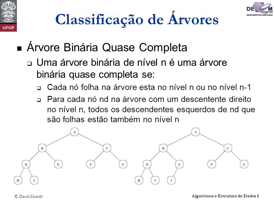 © David Menotti Algoritmos e Estrutura de Dados I Classificação de Árvores Árvore Binária Quase Completa Uma árvore binária de nível n é uma árvore bi