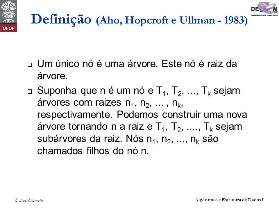 © David Menotti Algoritmos e Estrutura de Dados I Definição (Aho, Hopcroft e Ullman - 1983) Um único nó é uma árvore. Este nó é raiz da árvore. Suponh
