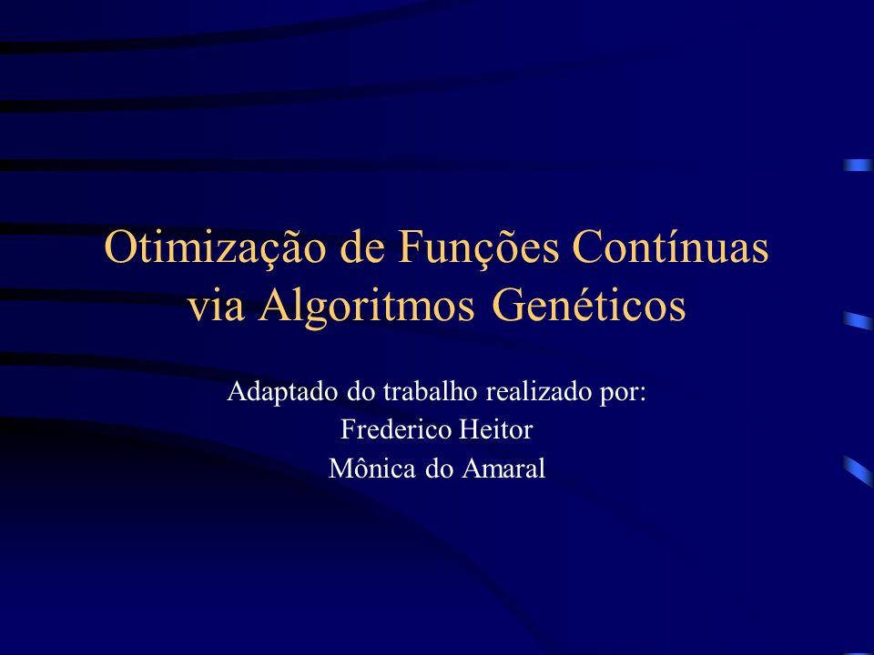 Otimização de Funções Contínuas via Algoritmos Genéticos Adaptado do trabalho realizado por: Frederico Heitor Mônica do Amaral