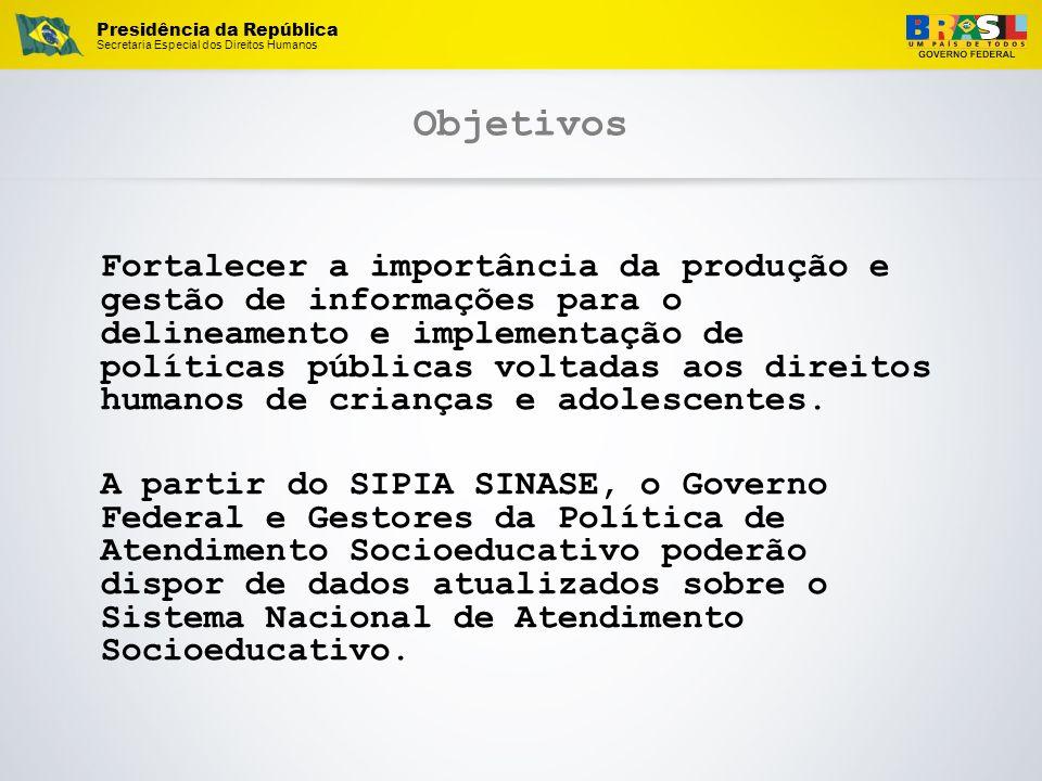 Presidência da República Secretaria Especial dos Direitos Humanos Objetivos Fortalecer a importância da produção e gestão de informações para o deline