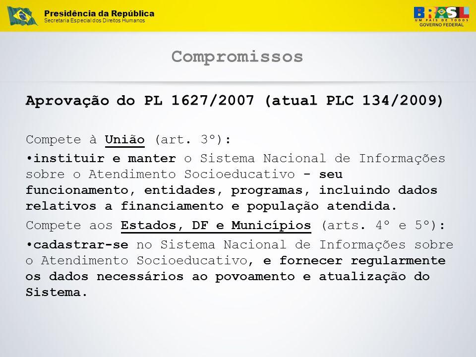 Presidência da República Secretaria Especial dos Direitos Humanos Compromissos Aprovação do PL 1627/2007 (atual PLC 134/2009) Compete à União (art. 3º