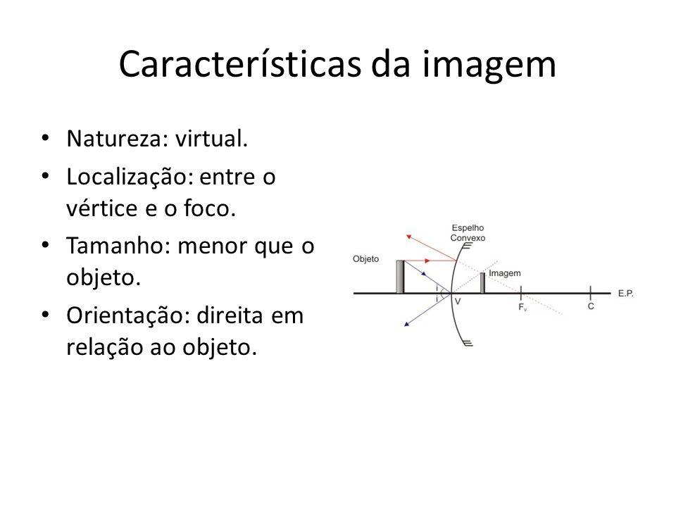 Características da imagem Natureza: virtual. Localização: entre o vértice e o foco. Tamanho: menor que o objeto. Orientação: direita em relação ao obj