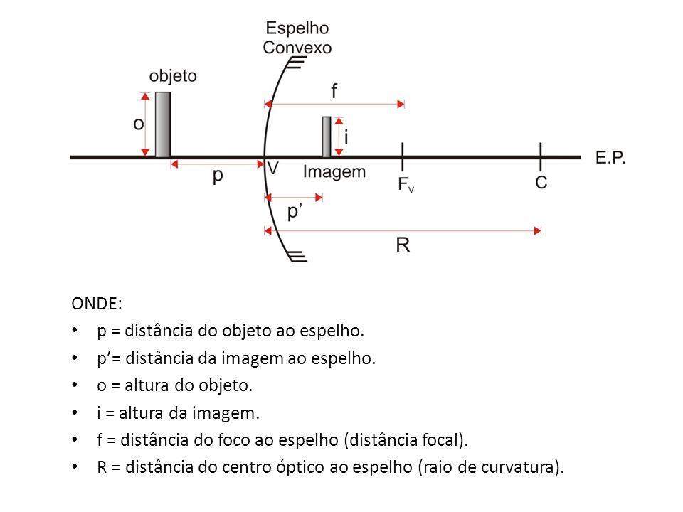 ONDE: p = distância do objeto ao espelho. p= distância da imagem ao espelho. o = altura do objeto. i = altura da imagem. f = distância do foco ao espe