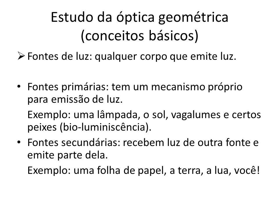 Estudo da óptica geométrica (conceitos básicos) Fontes de luz: qualquer corpo que emite luz. Fontes primárias: tem um mecanismo próprio para emissão d