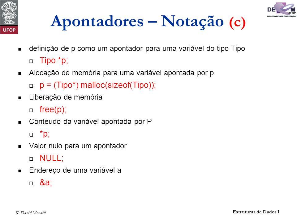 © David Menotti Estruturas de Dados I Apontadores – Notação (c) definição de p como um apontador para uma variável do tipo Tipo Tipo *p; Alocação de m