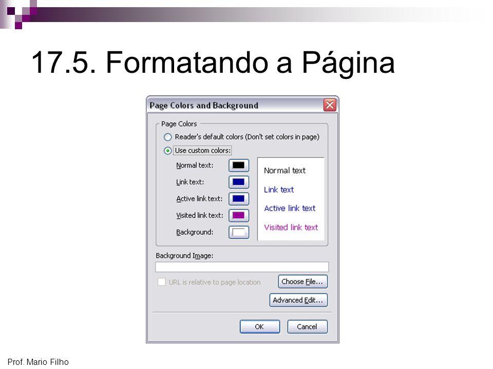 Prof. Mario Filho 17.5. Formatando a Página