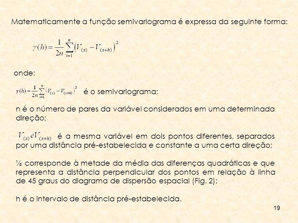 19 Matematicamente a função semivariograma é expressa da seguinte forma: onde: n é o número de pares da variável considerados em uma determinada direç