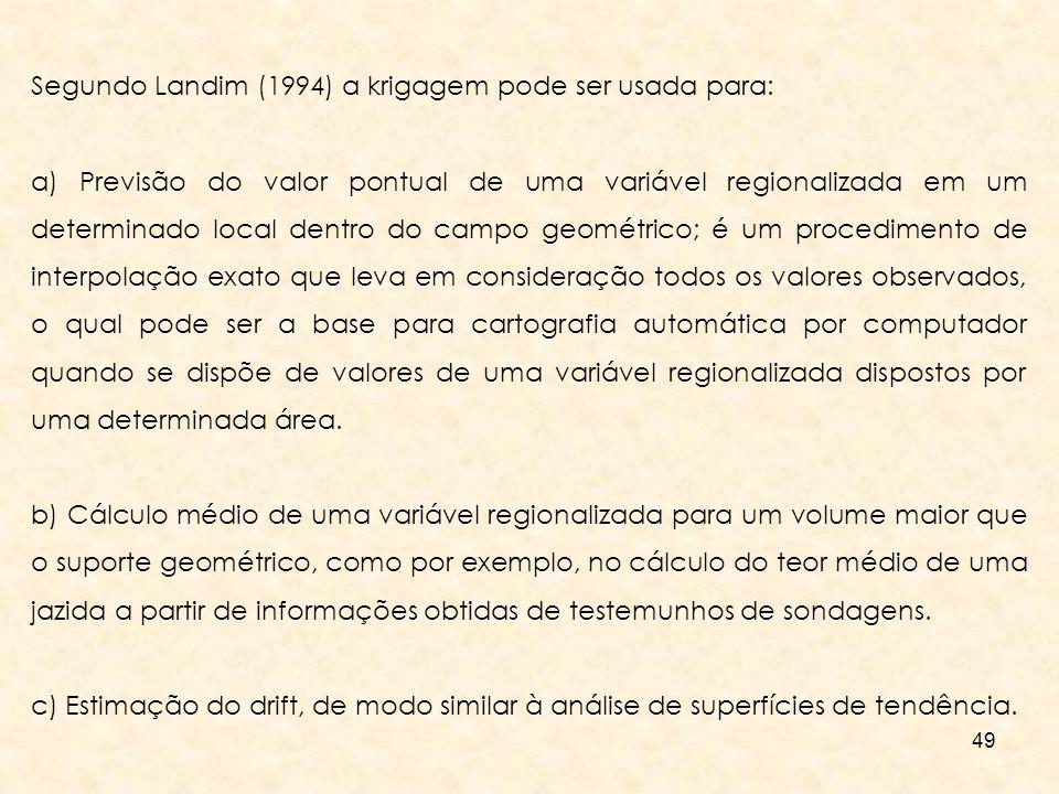 49 Segundo Landim (1994) a krigagem pode ser usada para: a) Previsão do valor pontual de uma variável regionalizada em um determinado local dentro do