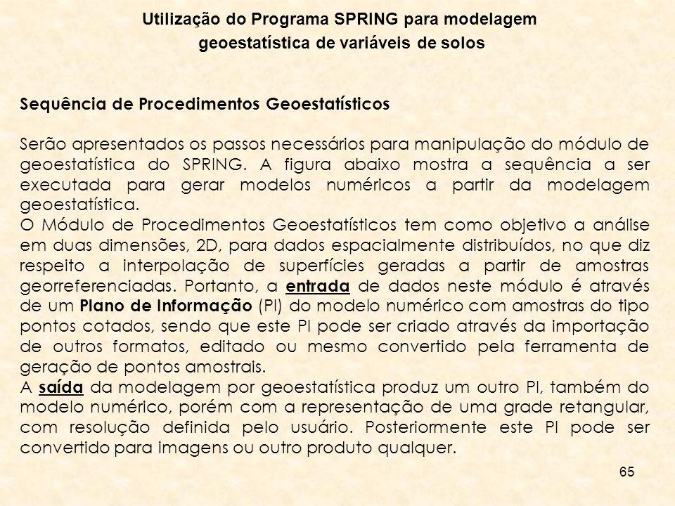 65 Utilização do Programa SPRING para modelagem geoestatística de variáveis de solos Sequência de Procedimentos Geoestatísticos Serão apresentados os