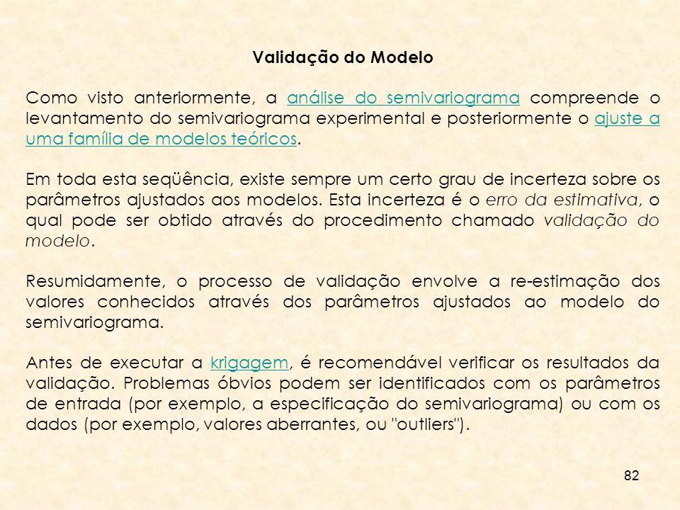 82 Validação do Modelo Como visto anteriormente, a análise do semivariograma compreende o levantamento do semivariograma experimental e posteriormente