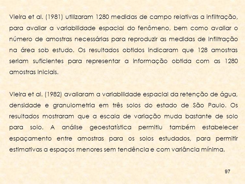 97 Vieira et al. (1981) utilizaram 1280 medidas de campo relativas a infiltração, para avaliar a variabilidade espacial do fenômeno, bem como avaliar